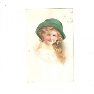 Pohlednice Holčička s kloboukem