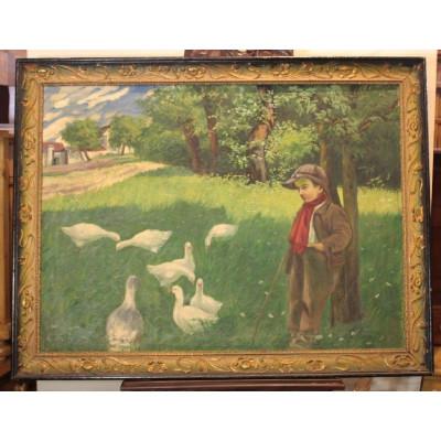 J.Rudolf - Husopas,olej na plátně,obraz