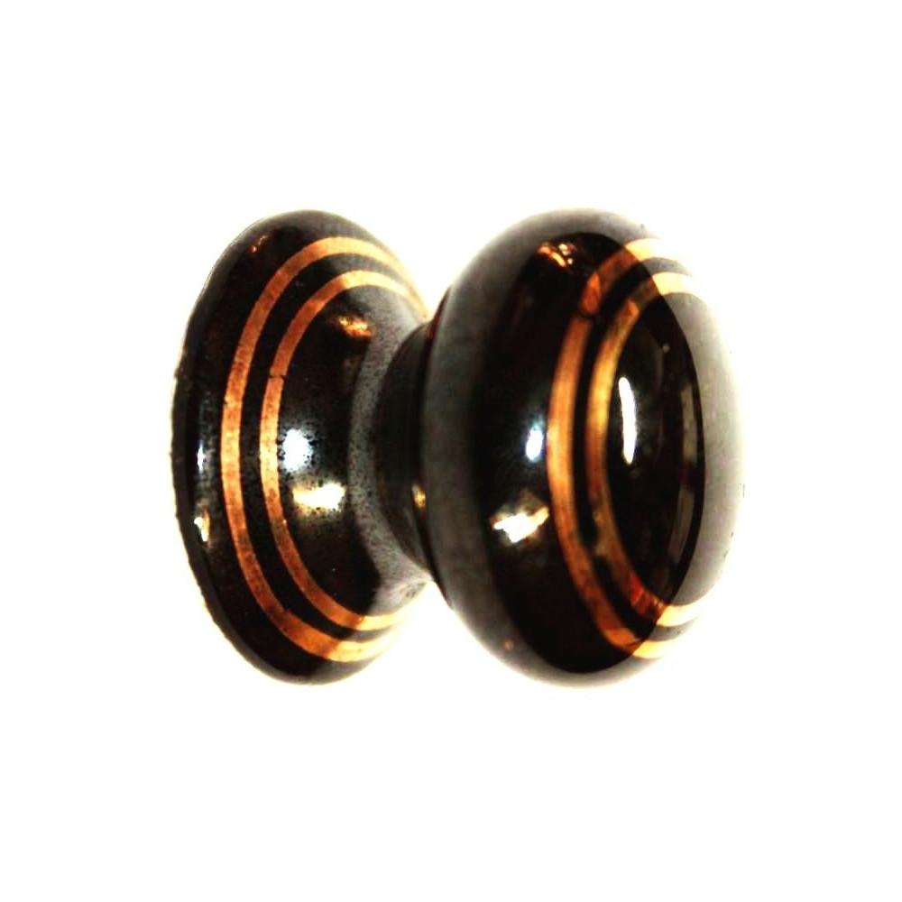 Porcelánová knopka kulatá ( černá ) - ø 26 mm